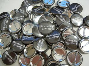 Whispering Mirrors Buttons old school pins