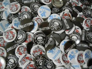 Gluttons Buttons old school pins